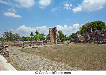 Panama Viejo - Old Ransacked buildings from the 1500s still...