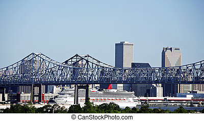 Cityscape of New Orleans, Louisiana, Mississippi bridge and...
