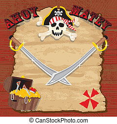 Pirate party invitation. Rustic red plank background with...