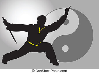 Chinese Tai-Chi. - A Tai Chi master with sword.
