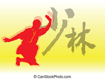 Chinese Kung-Fu. - Shaolin monk in action against a Shaolin...