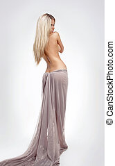 Fashion blond beautiful female model with Straight Long...