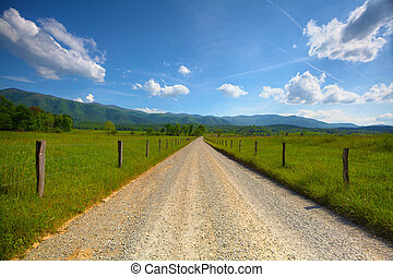 Cades Cove Road - Old dirt road at Cades Cove in the smoky...