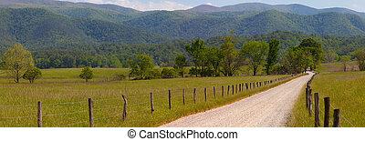 Panorama of Dirt road - Panorama of old dirt road in the...