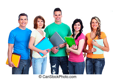 Group of students. - Group of smiling students. Isolated...