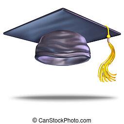 Graduation Cap - Graduation cap or mortar board with a gold...