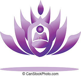 Lotus and yoga men praying vector logo