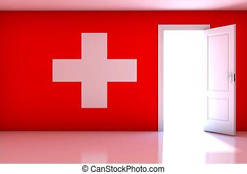Switzerland flag on empty room