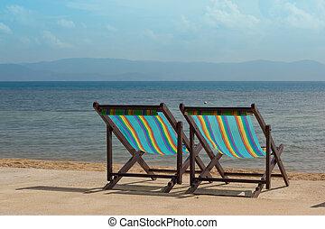 The several beach chairs