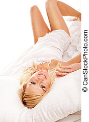 Pretty blonde hugging her pillow in the morning - Pretty...