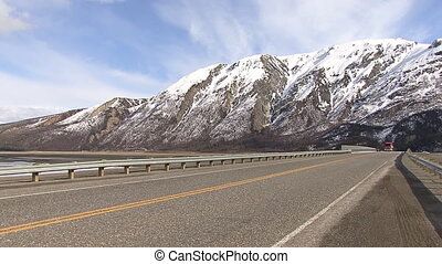 Tanker Truck Passes Yukon - Location: Kluane Lake,...