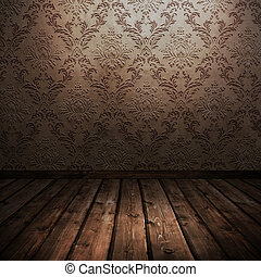 room with old wallpaper - room with wooden floors and old...
