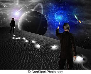 Ciencia, escena, ficción, puntos, hacia, galaxia, hombre