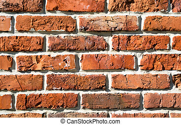 Burnt brick wall - Background from closeup fragment burnt...