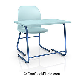 school desk and chair - one school desk with a chair on...