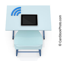 school desk with tablet - top view of a school desk with a...