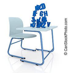 school desk - one school desk with blue letters that fall...
