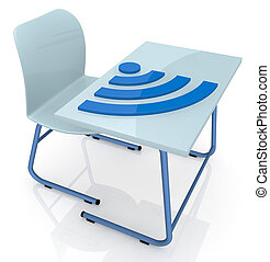 school desk with wireless symbol - one school desk with a...
