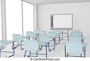 classroom with school desks and interactive whiteboard 3d...