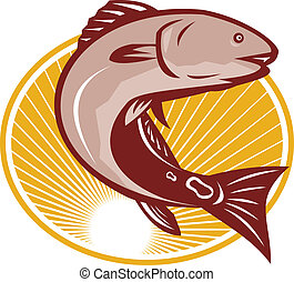 Red Drum Spot Tail Bass Fish Retro - Illustration of a red...