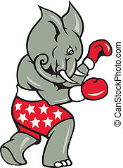 Elephant Boxer Boxing Stance - Cartoon illustration of an...