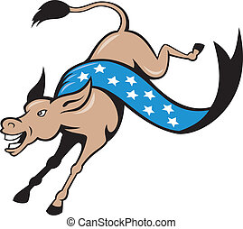 Donkey Jackass Jumping Democrat - Cartoon illustration of a...