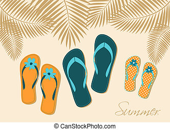 Family Vacation - Illustration of three pairs of flip-flops...