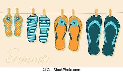 Family Vacation - Illustration of four pairs of flip-flops....