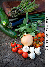 Fresh garden produce - Healthy fresh vegetables ingredients...