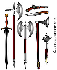 set of ancient weapon, this illustration may be useful as...