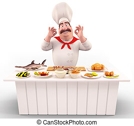 Chef with meat and fish on table - 3D illustration of Chef...