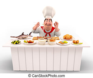 Chef cooking noodles on the table - 3D illustration of Chef...