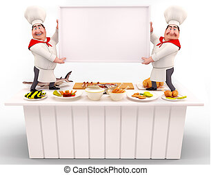 Chef holding white sign on the tabl - 3D illustration of...