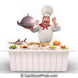 Cute Chef walking with non-veg dish - 3D illustration of...