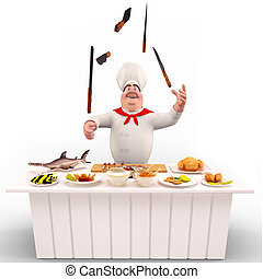 Chef with knife on the table - 3D illustration of Chef with...