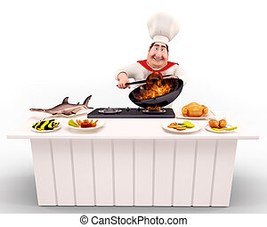 Chef cooking nonveg on the table - 3D illustration of Chef...