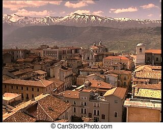 LAQUILA inner city view long shot - The italian city of...