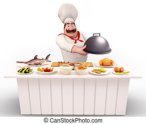Chef walking with non-veg dish - 3D illustration of Chef...