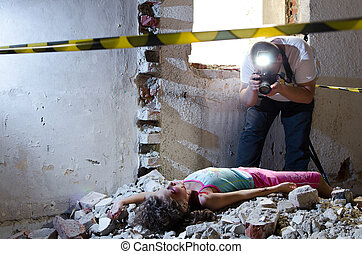 Shooting evidence - Photographer taking pictures at a crime...