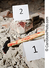 Crime scene - Marked object on a crime scene