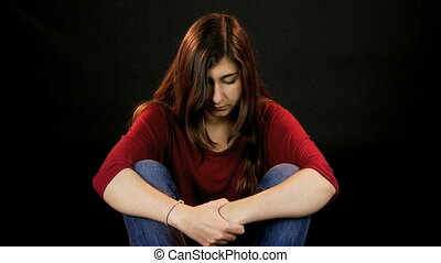 Very sad girl thinking - Depressed Young female model...