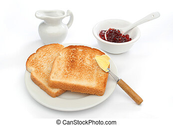 A beautiful breakfast scene - Two toast on a plate with...