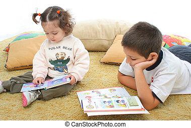 irmão, irmã, leitura, LIVROS, chão