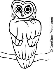cartoon owl for coloring book - cartoon illustration of owl...