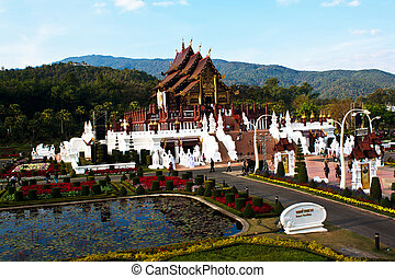 The Royal Pavilion,Ho kham luang in the international horticultural exposition 2011, the northern thai style building in royal flora expo,Chiang mai, Thailand