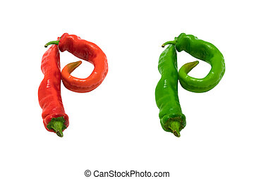 Letter P composed of green and red chili peppers Isolated on...