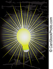 bright idea - light bulb with bright yellow rays and black...