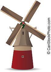 The mill - Vector illustration of the mill or windmill,...