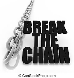 Metal chain and freedom concept - Chromed metal chain and...