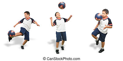 Kid playing soccer isolated - Sports Boy playing soccer ball...